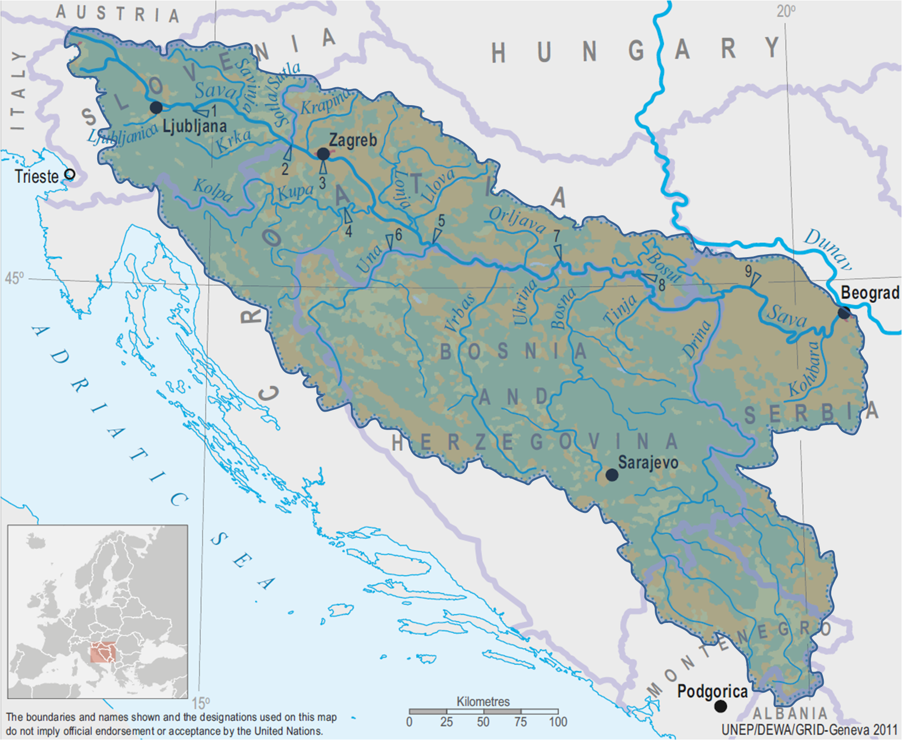Sava River basin map